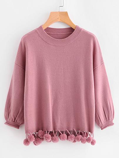 Pullover mit Laternenhülsen und Pompons