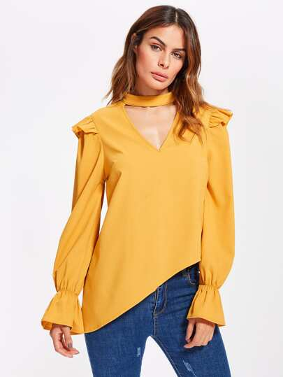 Choker Neck Fluted Sleeve Frilled Asymmetric Blouse