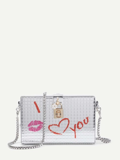 PU Kette Tasche mit Schloss Design