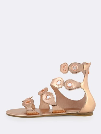 Metallic Grommet Band Sandals ROSE GOLD