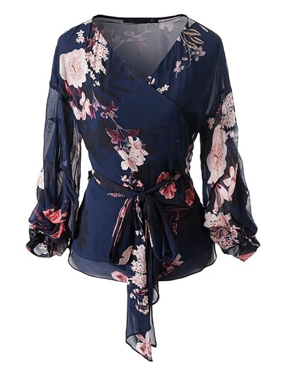 Floral Print Wrap Top With Self Tie