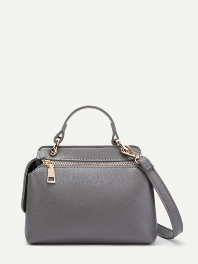 Plain PU Shoulder Bag With Adjustable Strap