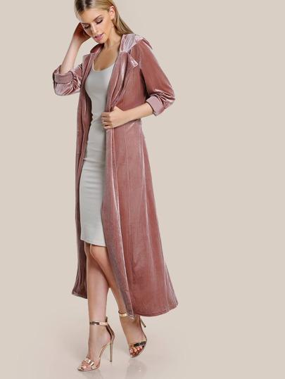 Roll Tab Sleeve Belted Velvet Duster Coat