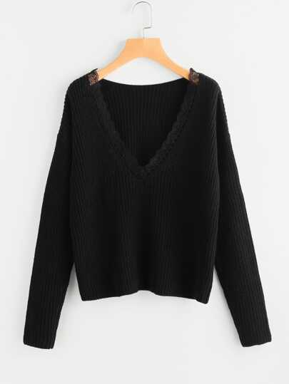 Lace Trim Plunge Neck Jumper