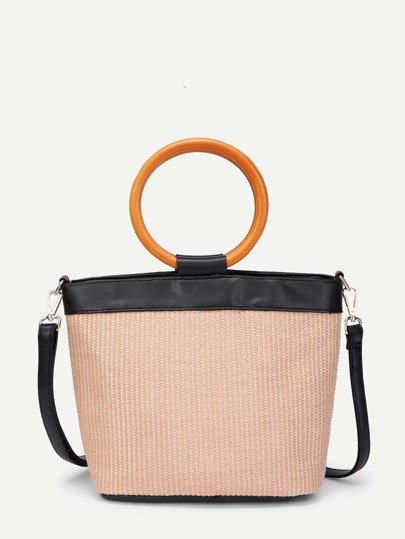 Weave Shoulder Bag With Wood Handle