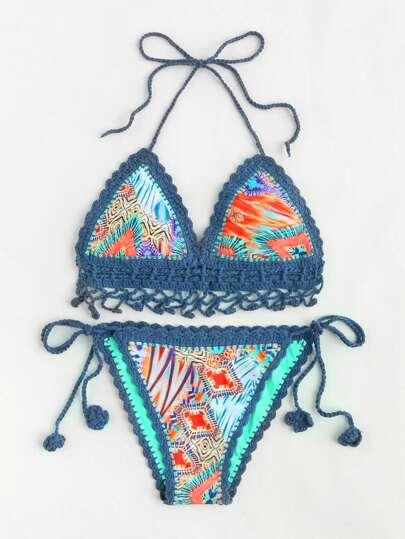 Tie Side Crochet Bikini Set