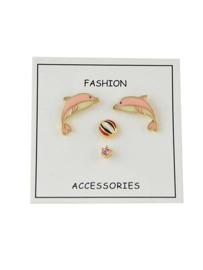 4pcs/set Pink Color Enamel Ball Round Dolphin Stud Earring