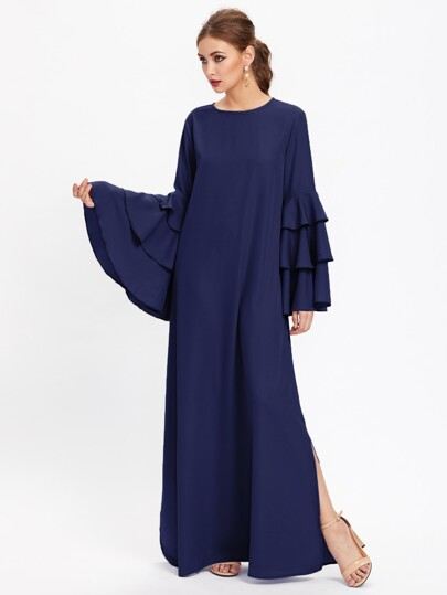 Exaggerate Layered Bell Sleeve Slit Kaftan Dress