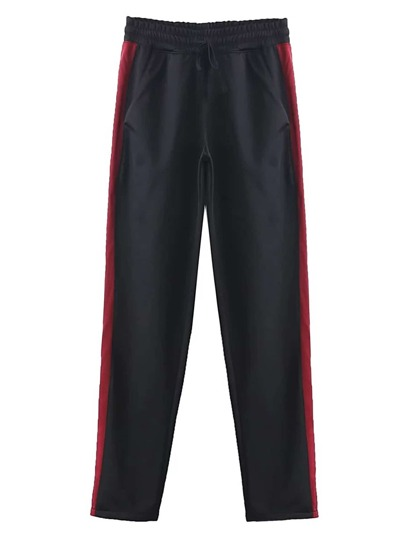 Drawstring Waist Striped Side Sport Pants