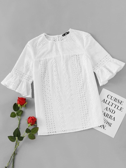 Eyelet Embroidery Ruffle Trim Sleeve Top