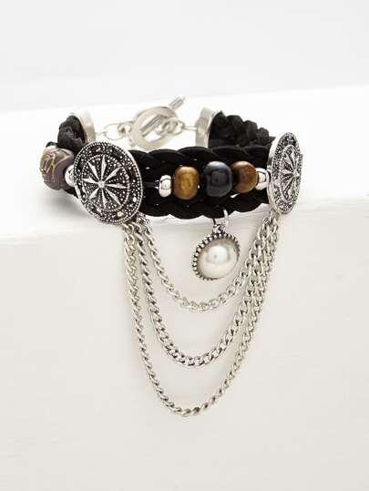 Faux Pearl & Chain Detail Woven Bracelet