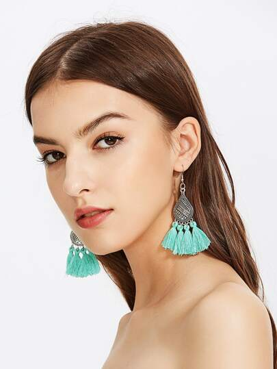 Multi Tassel Charm Drop Earrings