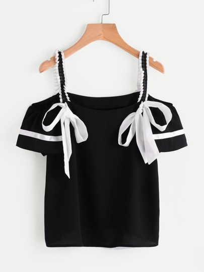 Pleated Strap Bow Detail Top