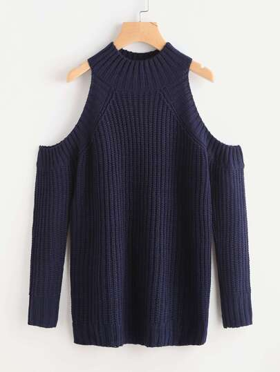 Ribbed Trim Open Shoulder Jumper