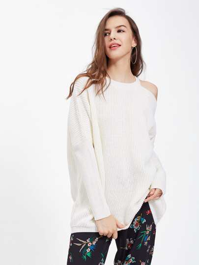 Asymmetric Cutout Shoulder Dolman Jumper