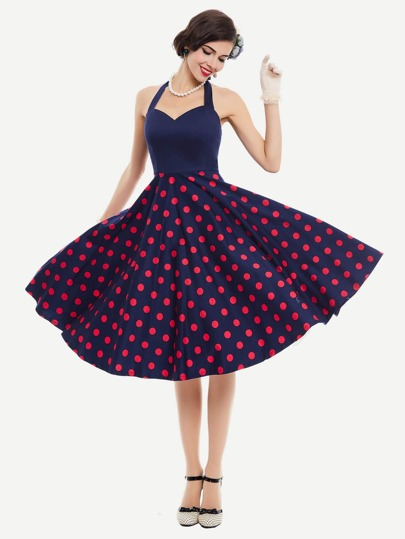 Polka Dot Halter Tie Back Swing Dress