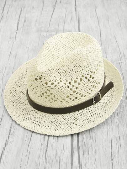 Buckle Band Fedora Straw Hat