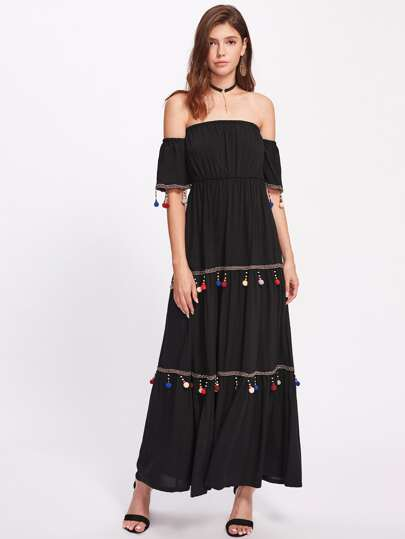 Bardot Embroidered Tape Detail Beaded Pom Pom Trim Dress