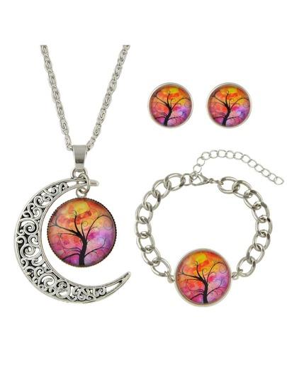 Tibetan Silver Design Yellow Color Stone Tree Pattern Necklace Earrings Bracelets Set