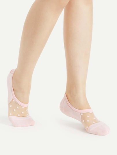 Polka Dot Mesh Insert Invisible Socks