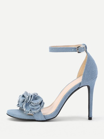 Flower Design Ankle Strap Heeled Sandals