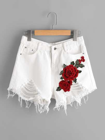 Destroyed Denim Shorts With Embroidered Applique