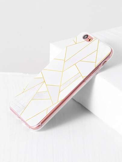 White Geometric Pattern iPhone Case