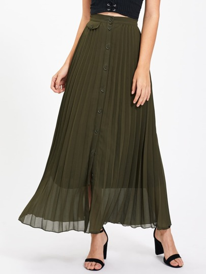 Button Up Pleated Skirt