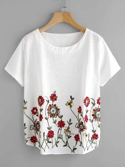Stereo Embroidery Curved Hem Blouse