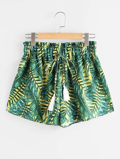 Shorts mit Palmblattmuster und Quaste