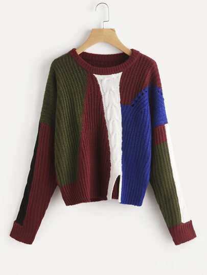 Color Block Mixed Knit Slit Front Jumper