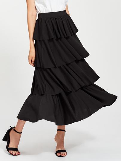 Zip Closure Layered Ruffle Skirt