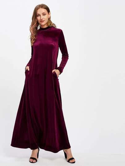 Mock Neck Pocket Side Velvet Kaftan Dress