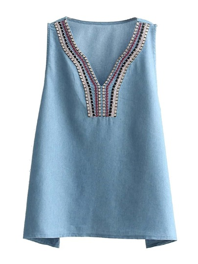 Embroidery Denim Sleeveless Top