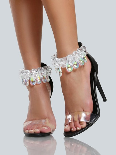 Diamond Ankle Strap Clear Band Heels BLACK