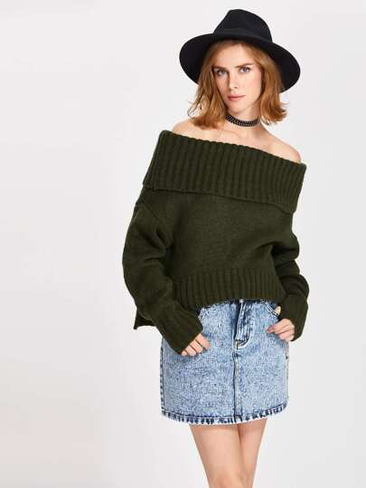 Foldover Off Shoulder Vented Hem Jumper