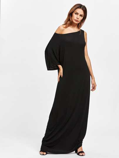 Oblique Shoulder Floor Length Dress