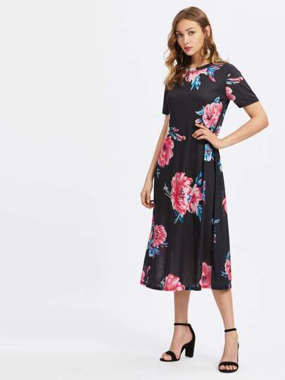 Random Florals Tee Dress