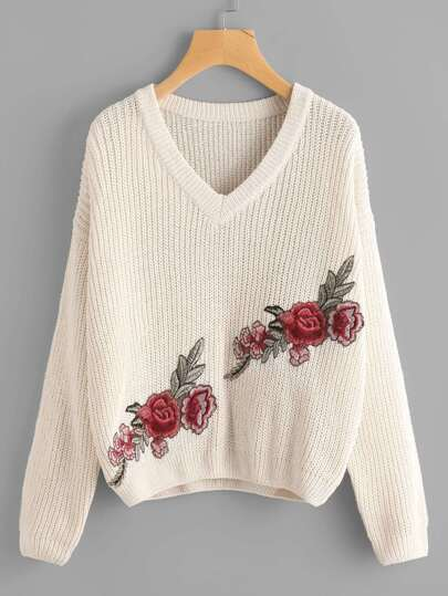 Embroidered Flower Applique Jumper