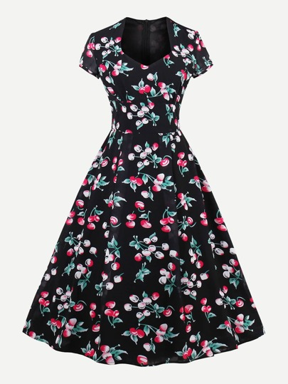 Allover Cherry Print Queen Anne Neckline Circle Dress