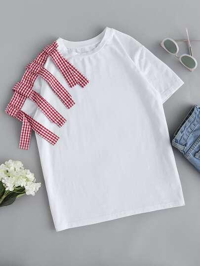 Tee-shirt épaule à carreaux