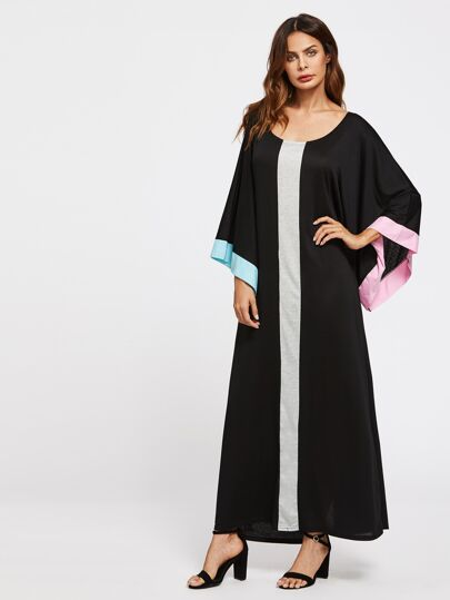 Contrast Panel Kimono Sleeve Kaftan Dress