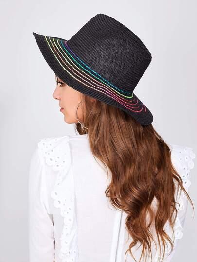 Contrast Striped Straw Beach Hat