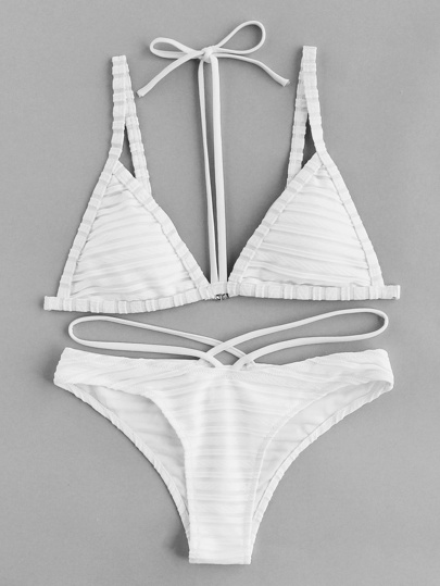 Textured Stripe Halter Strap Bikini Set