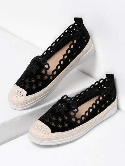 Samt Espadrilles mit Cut Out