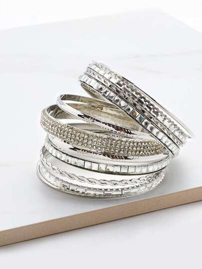Rhinestone Embellished Charm Bangle Bracelet Set