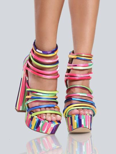 Multi Colored Strappy Heels MULTI