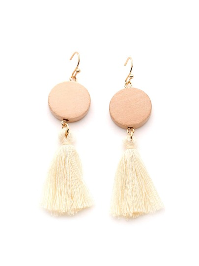 Tassel Design Drop Earrings With Round Wood