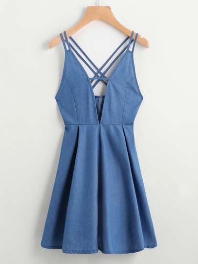 V Cut Criss Cross Back Una Linea Vestito Chambray
