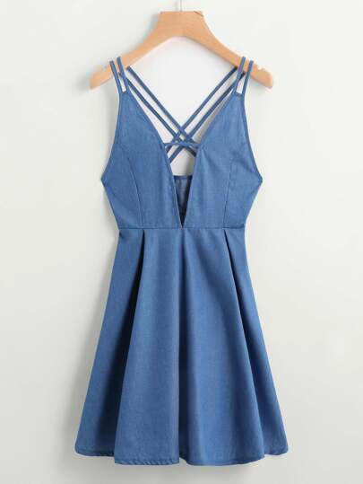 V Cut Criss Cross Back A Line Chambray Dress